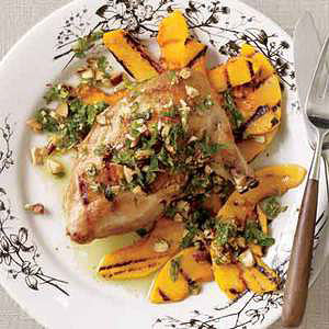 Grilled Chicken with Mint-Almond Pesto