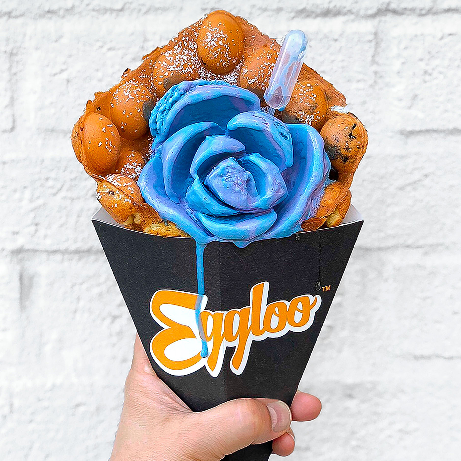 egg-waffle cone with blue rose