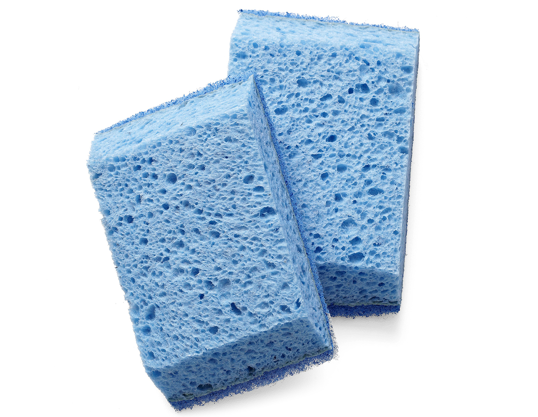 two blue angled kitchen sponges
