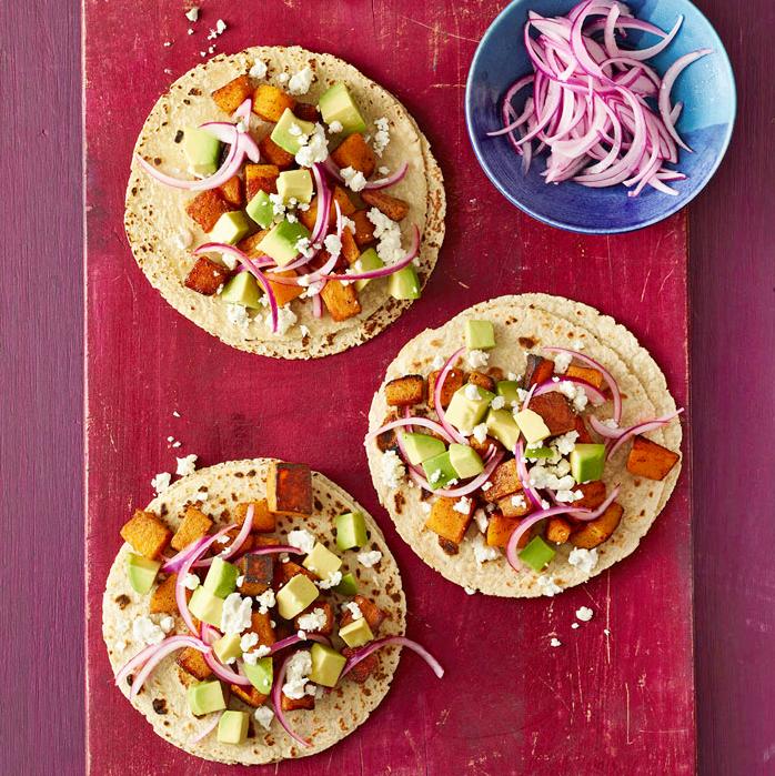 Squash, Feta & Pickled Onion Tacos