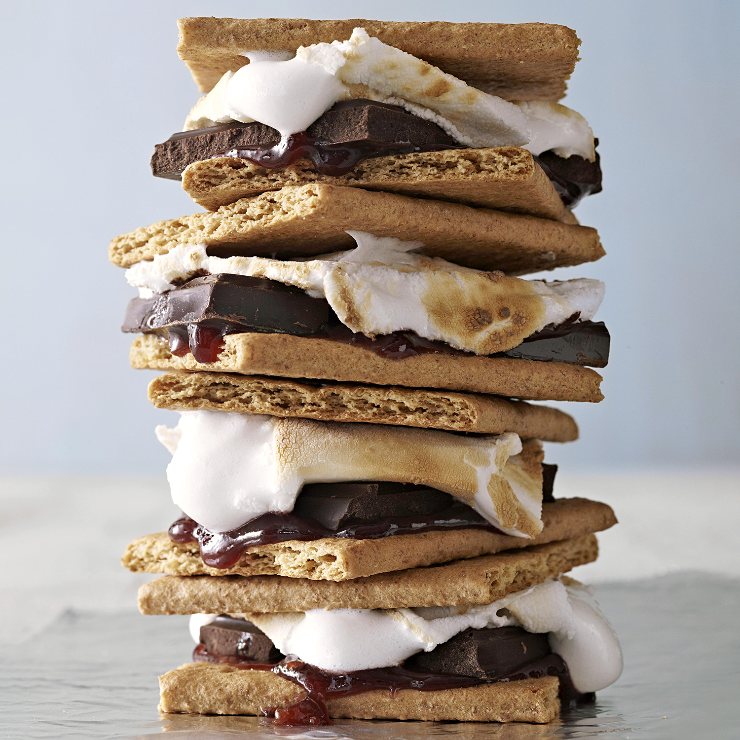 stacked smores on blue background