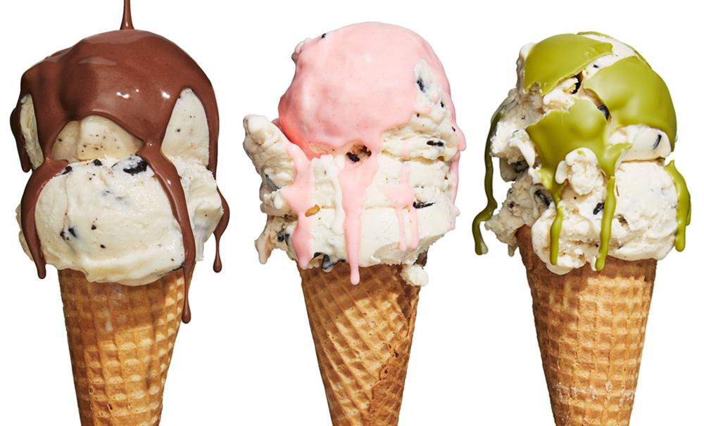 ice cream toppings chocolate strawberry matcha