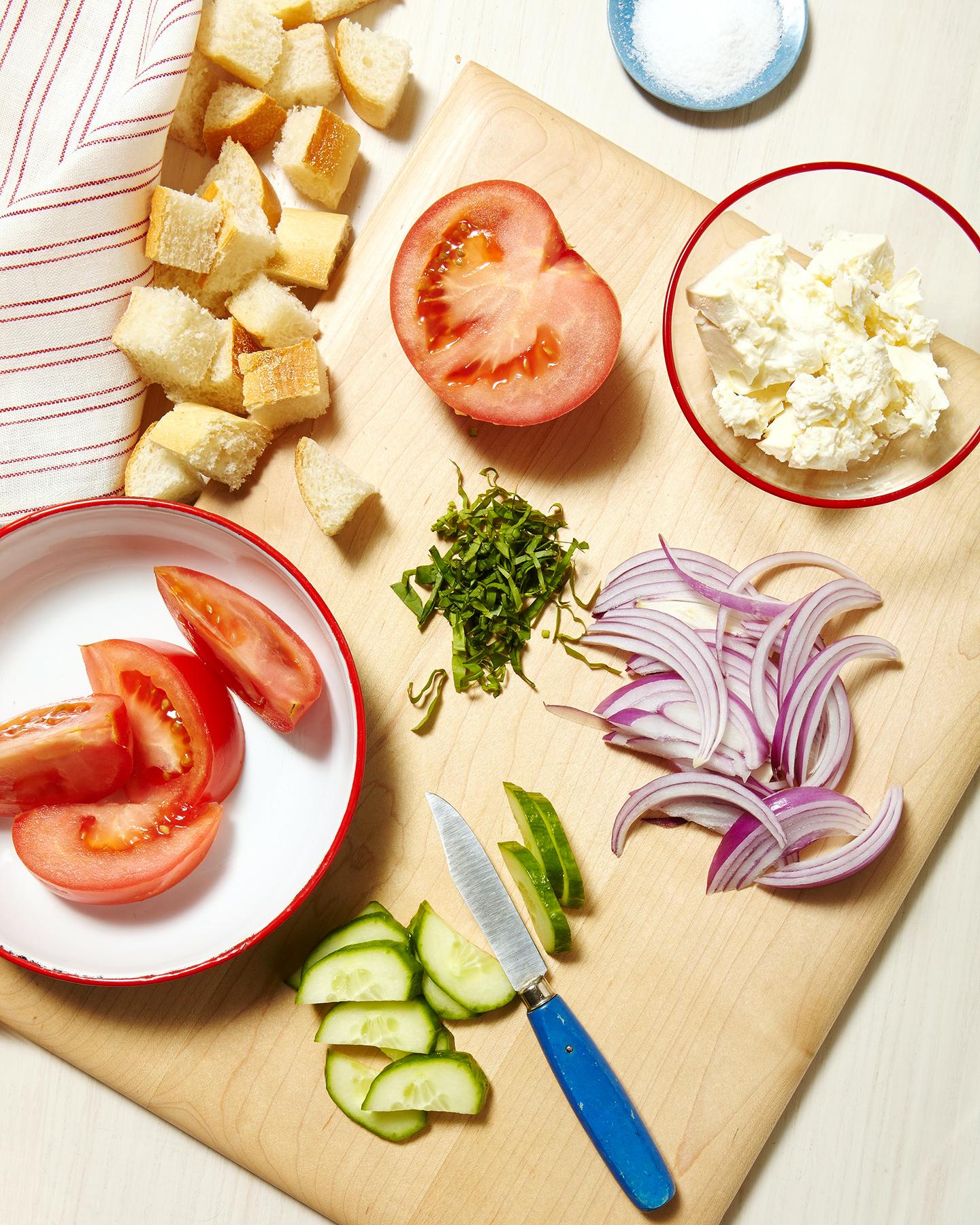 ingredients, bread crumbs, tomatoes, red onions, salt, sliced cucumbers