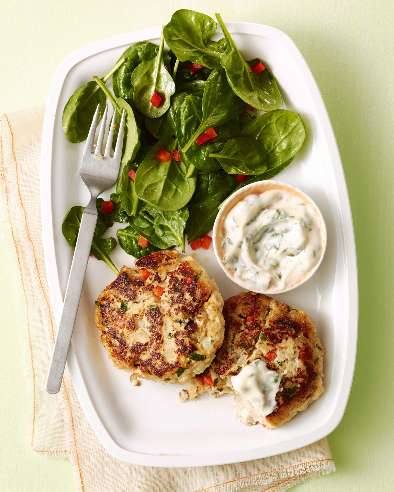 Fish Cakes with Spinach Salad