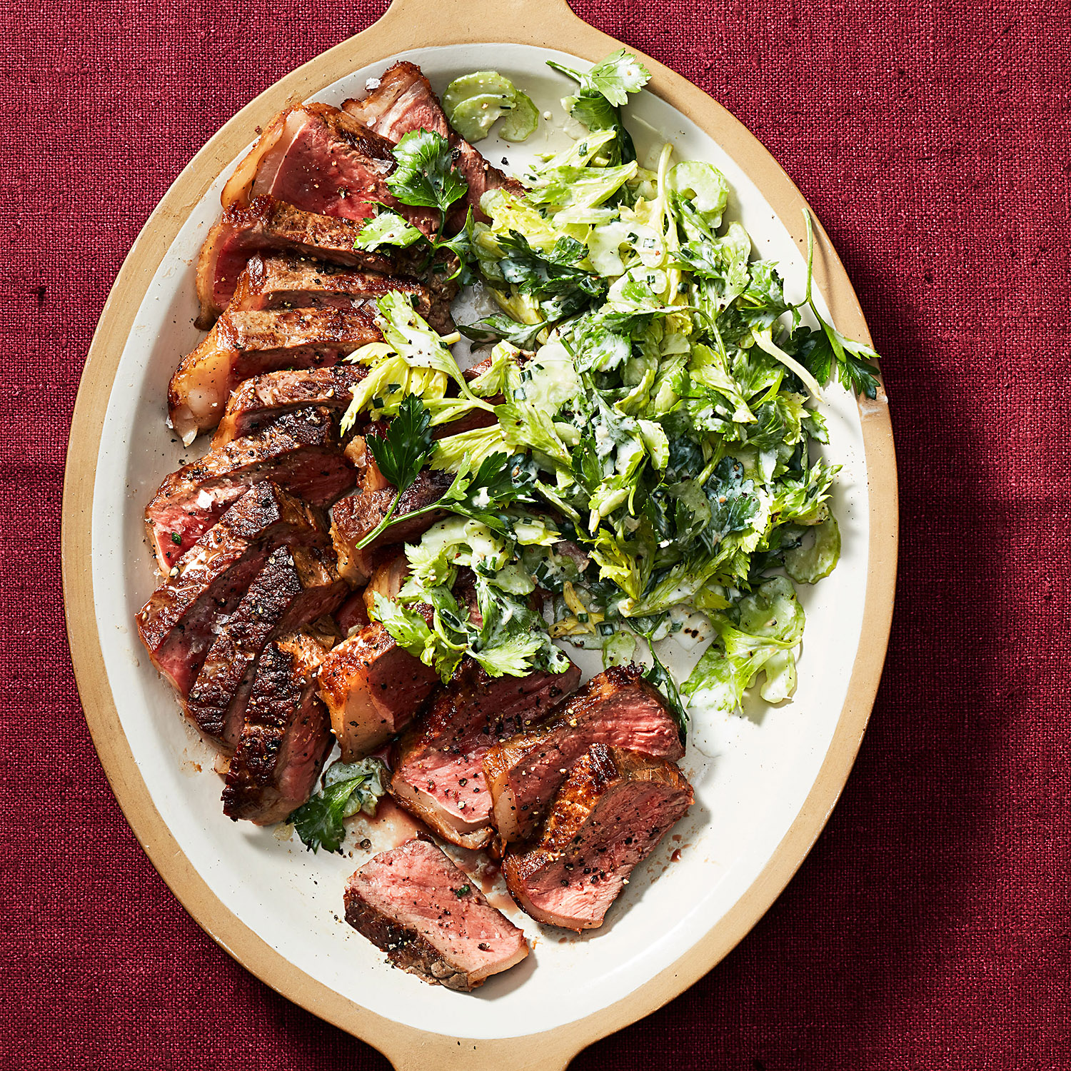 Seared Steaks with Parsley & Celery Salad