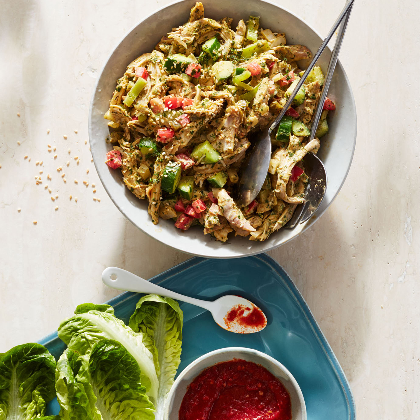tahini and za atar chicken salad