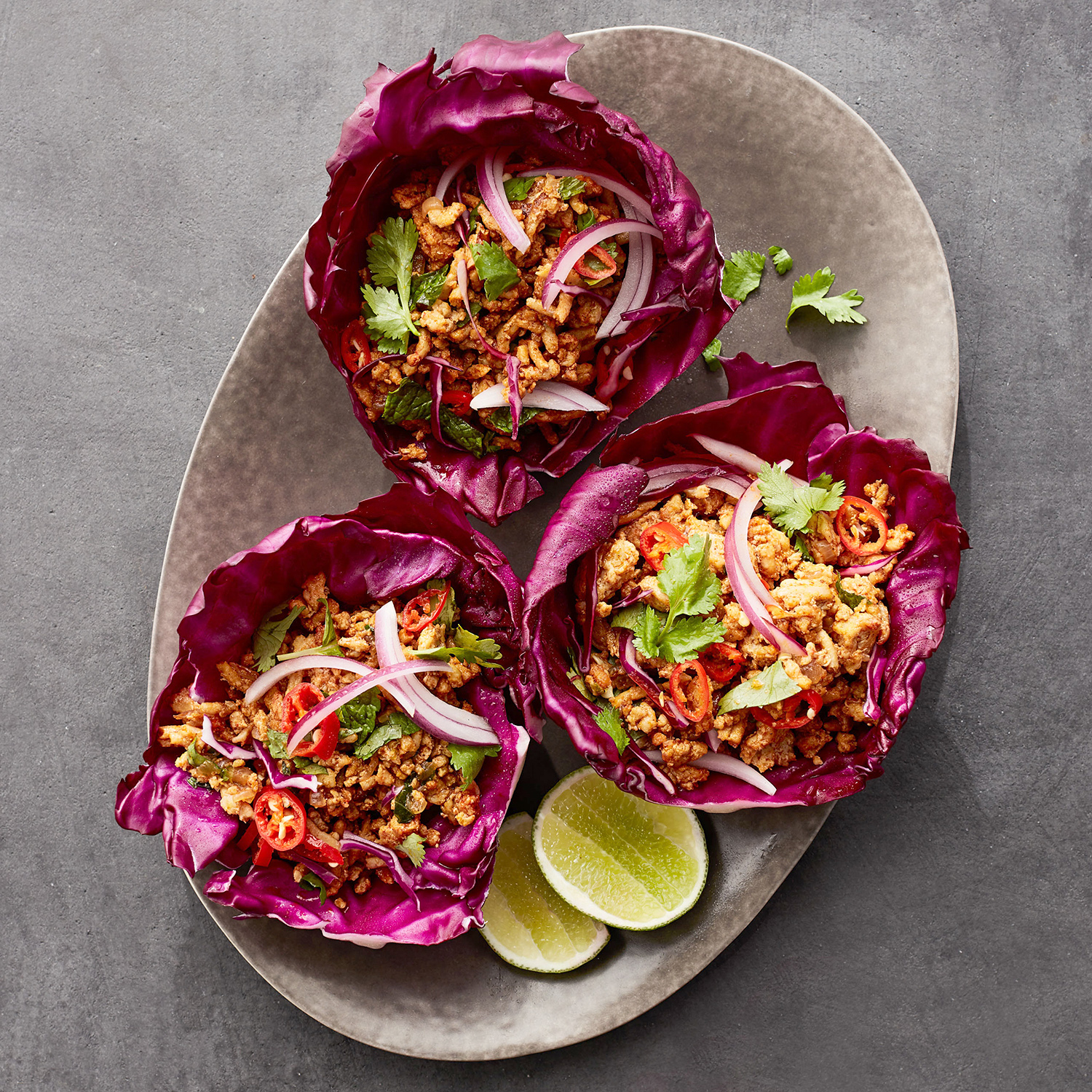 vietnamese chicken and red cabbage cups