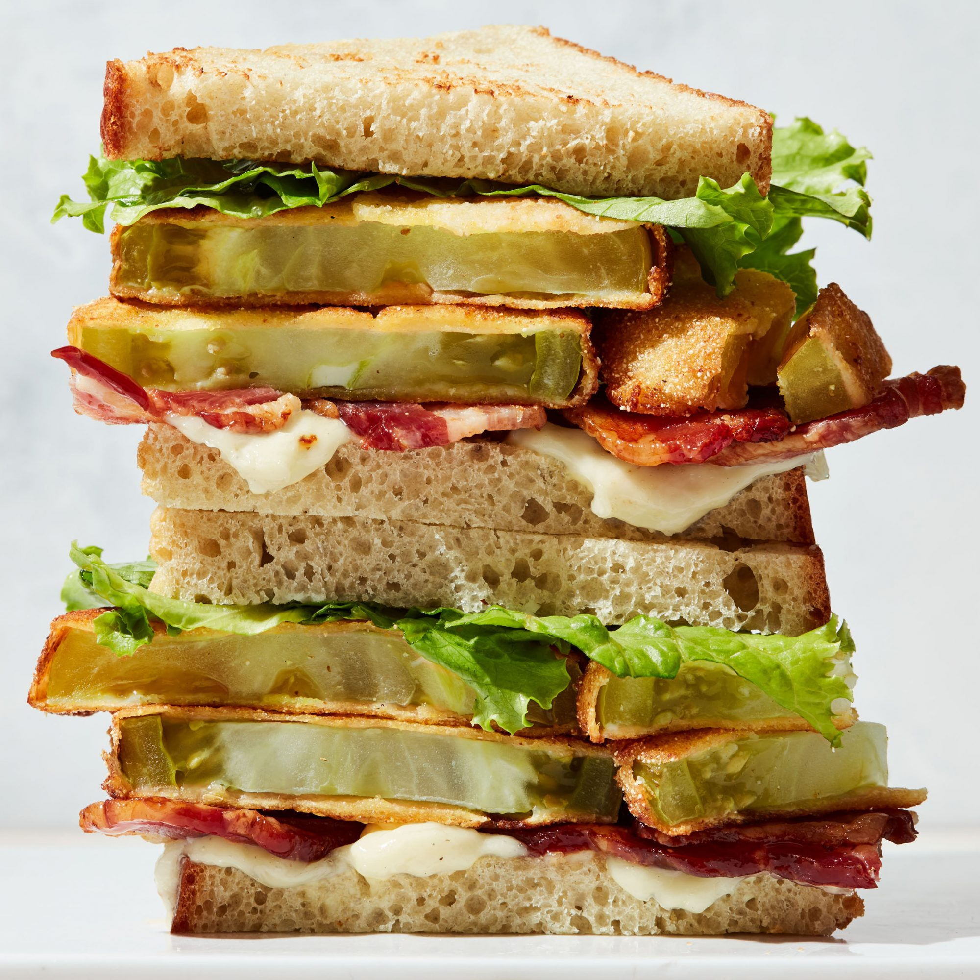 bacon lettuce and fried green tomato sandwiches