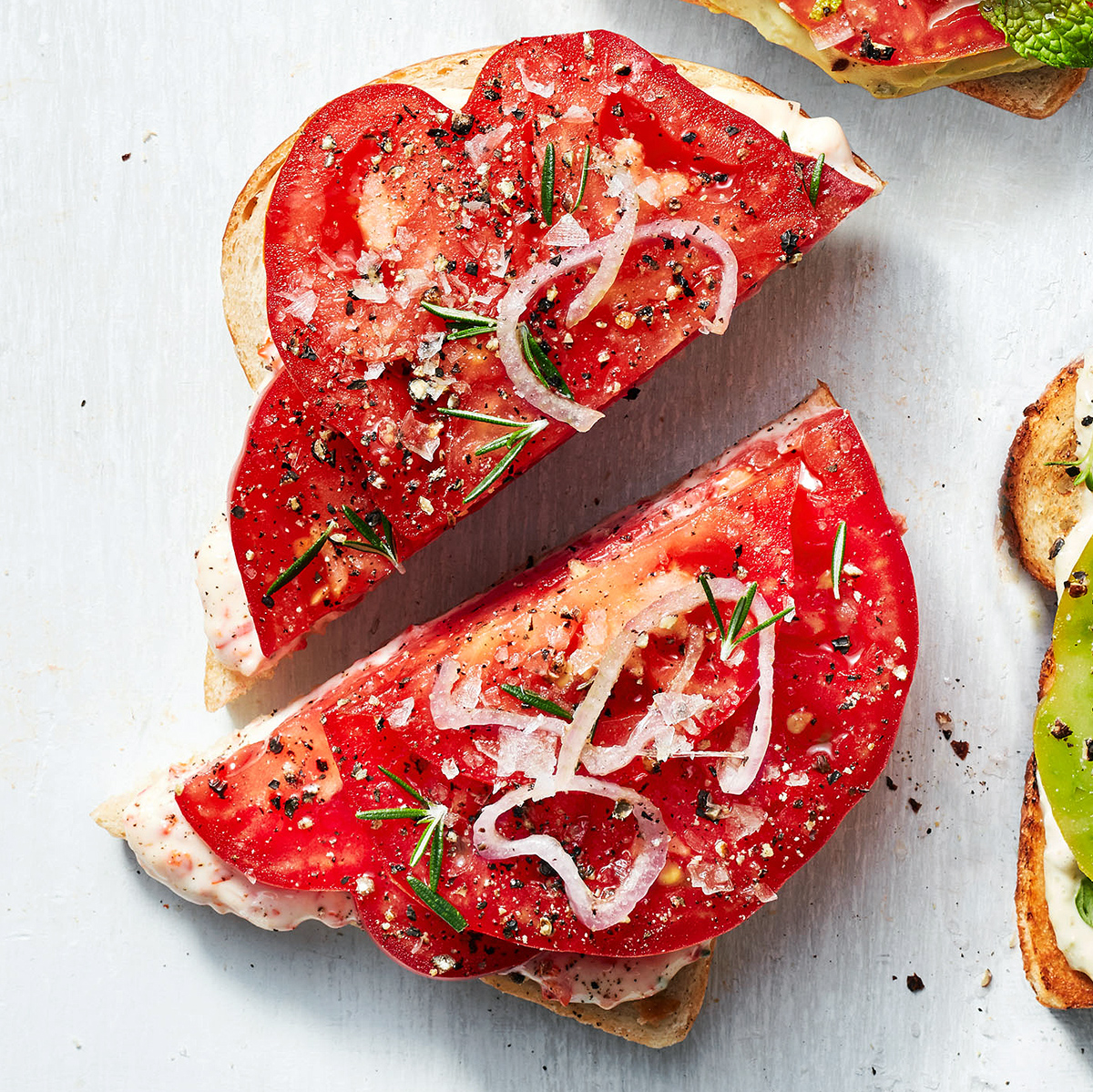 tomato toast with cherry pepper mayo