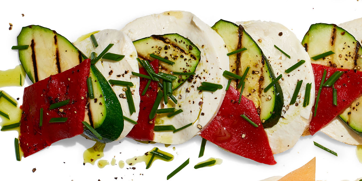 grilled zucchini and peppers caprese salad