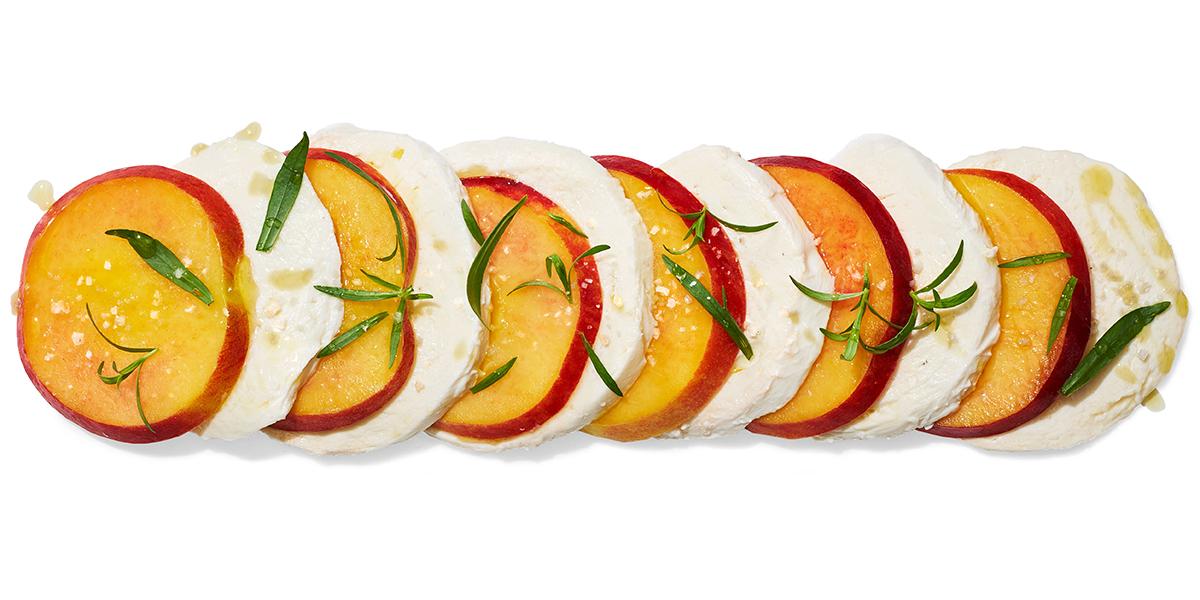 peach and tarragon caprese salad