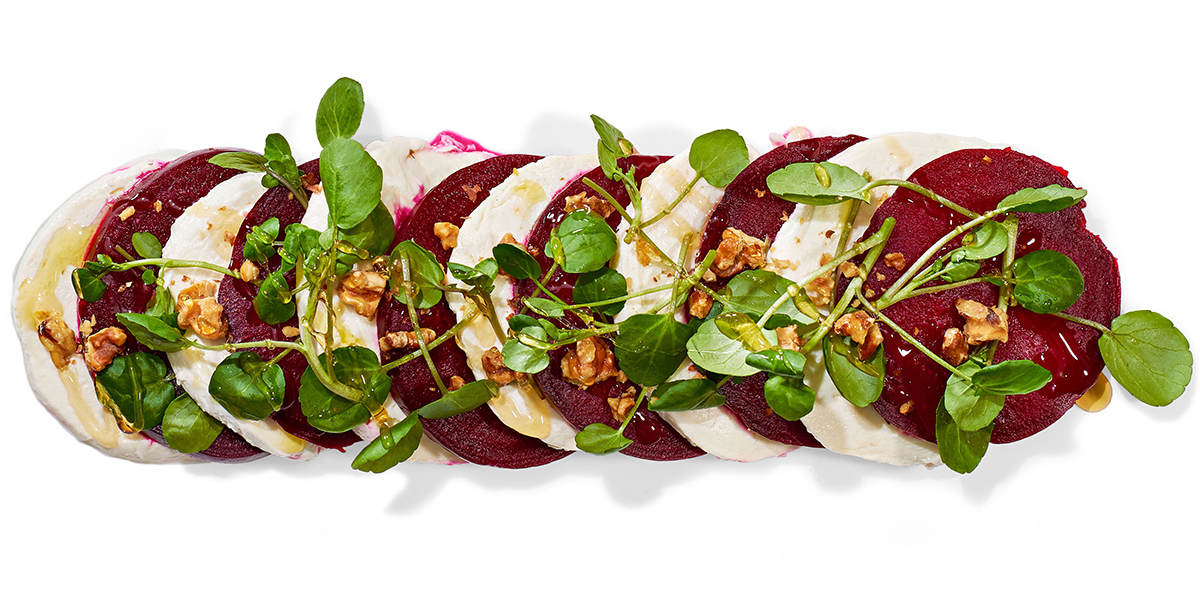 roasted beets and honey caprese salad