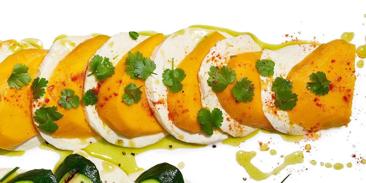 spicy mango and cilantro caprese salad