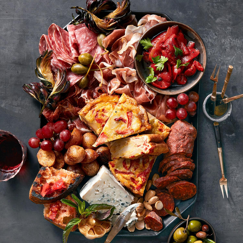 spanish tapas tray with espanola and toast
