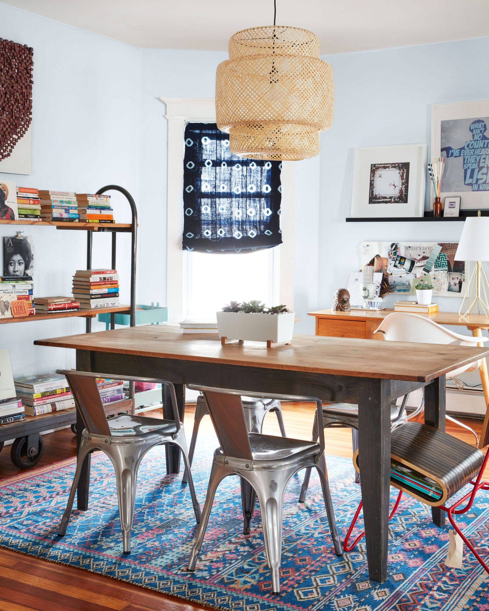 dining room office with old blue rug