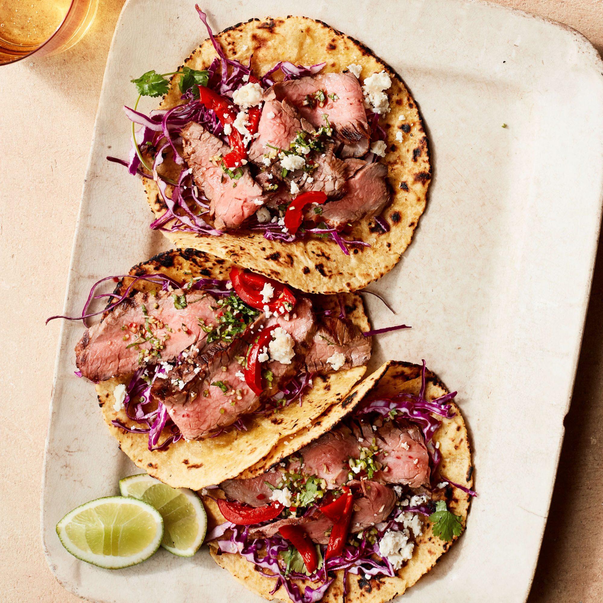 mezcal-marinated steak tacos