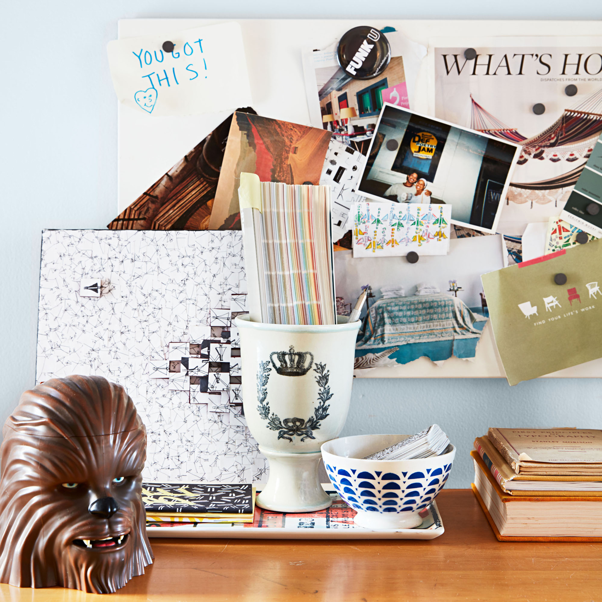 Office Desk with Photos and Various Decor