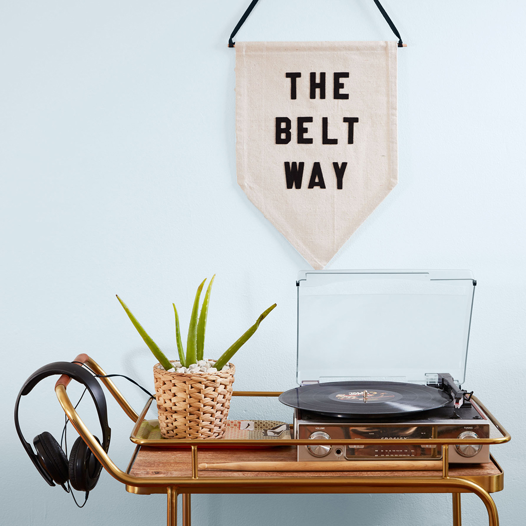 Record Player on Cart with Wall Pennant