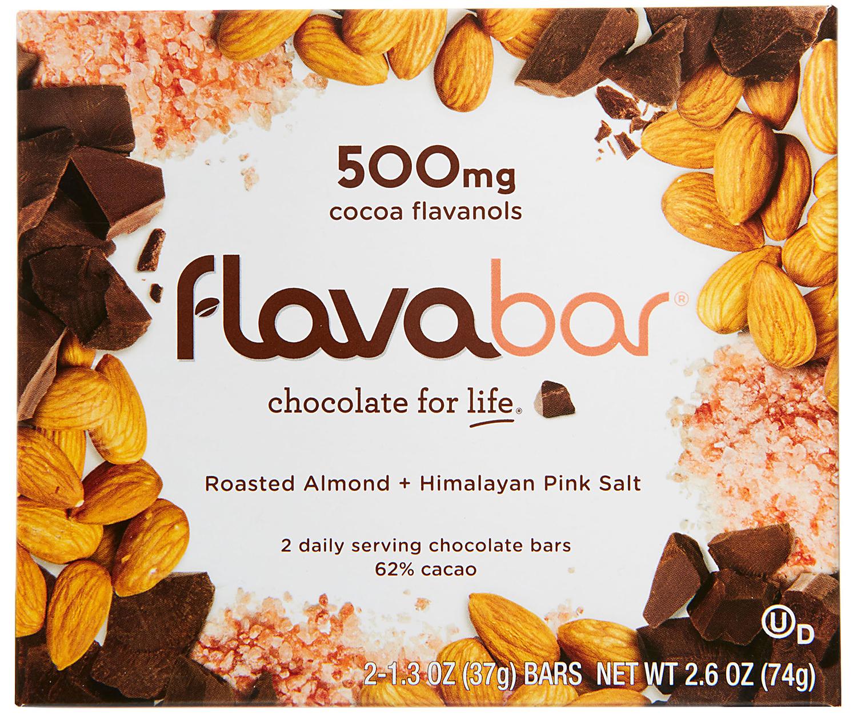 Flavabar Roasted Almond and Himalayan Pink Salt Dark Chocolate box