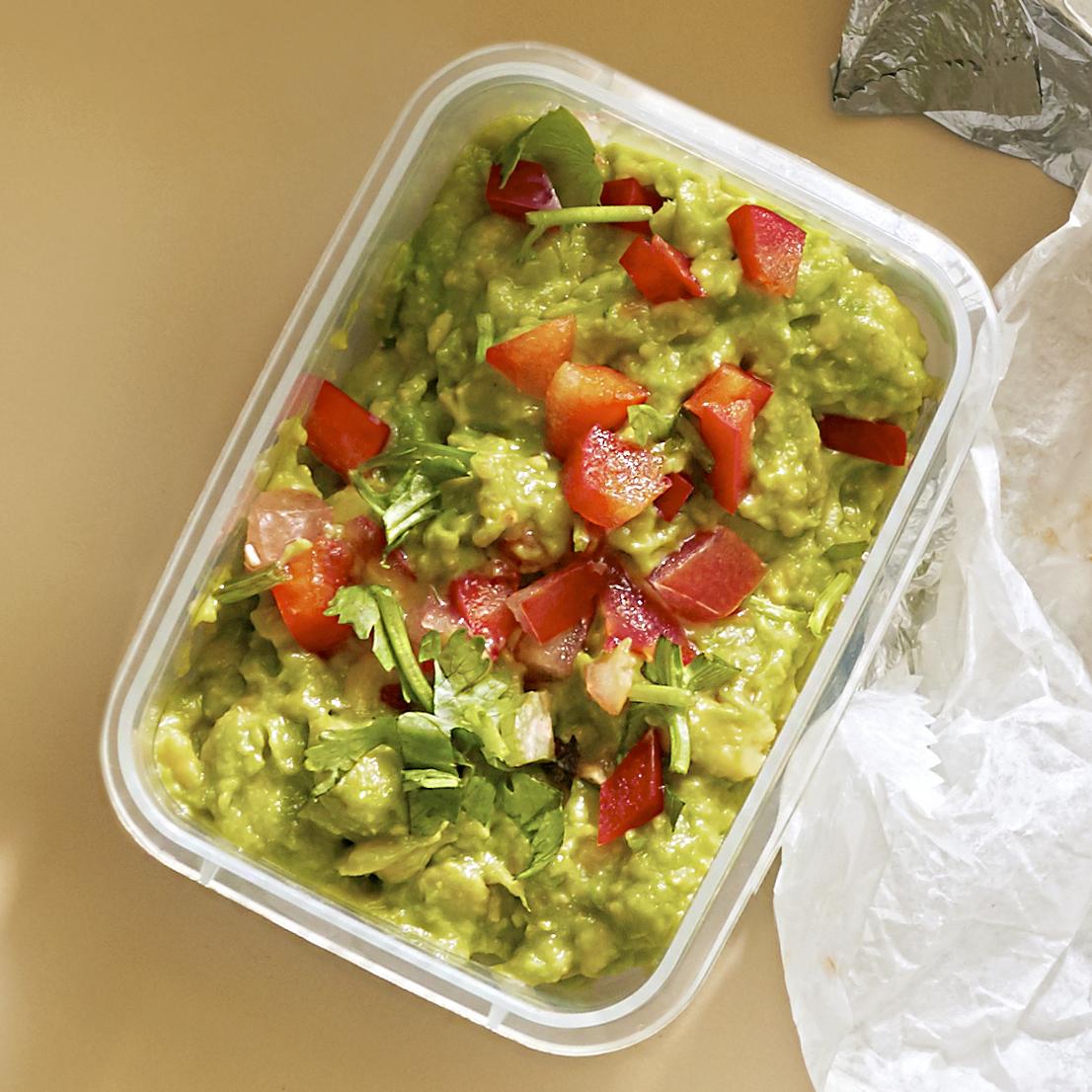 guacamole with cilantro bell pepper and tomato