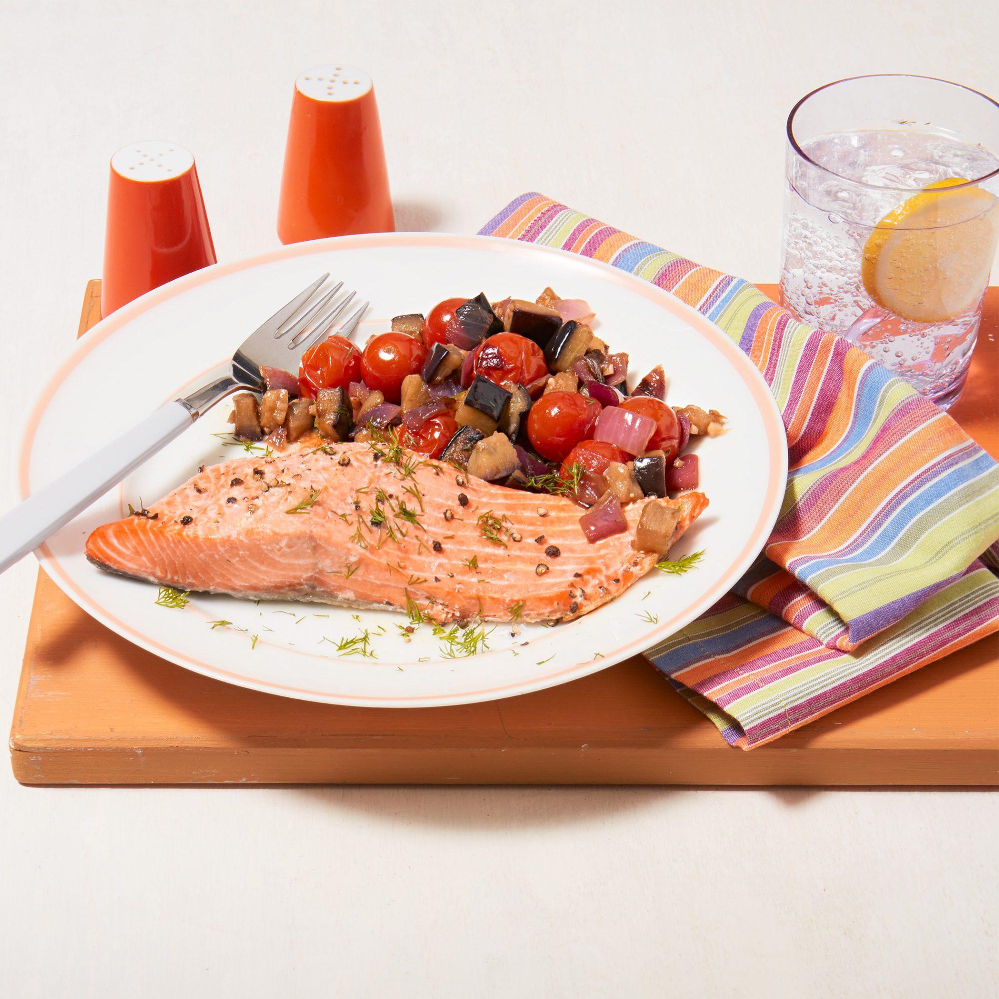 baked salmon quick caponata