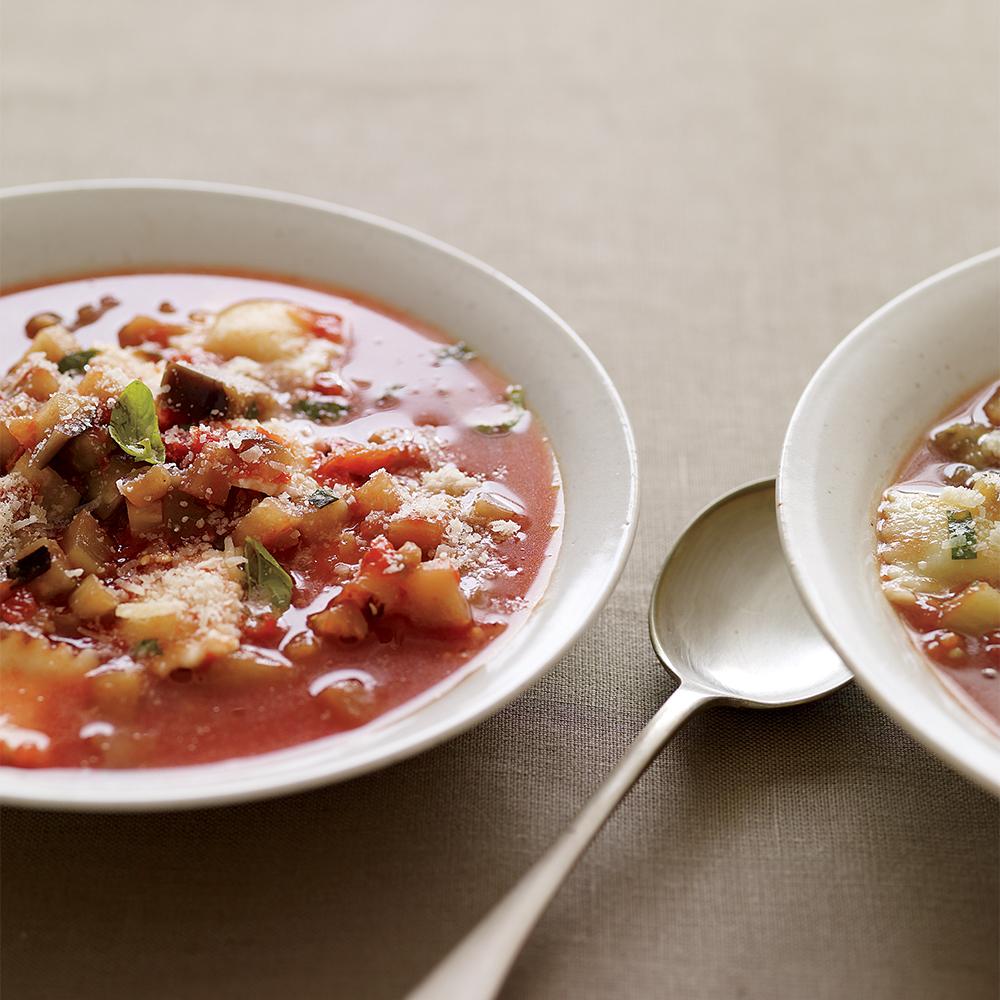eggplant raviolini soup