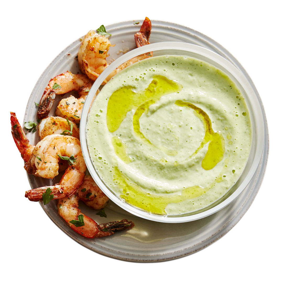 shrimp on plate with dip