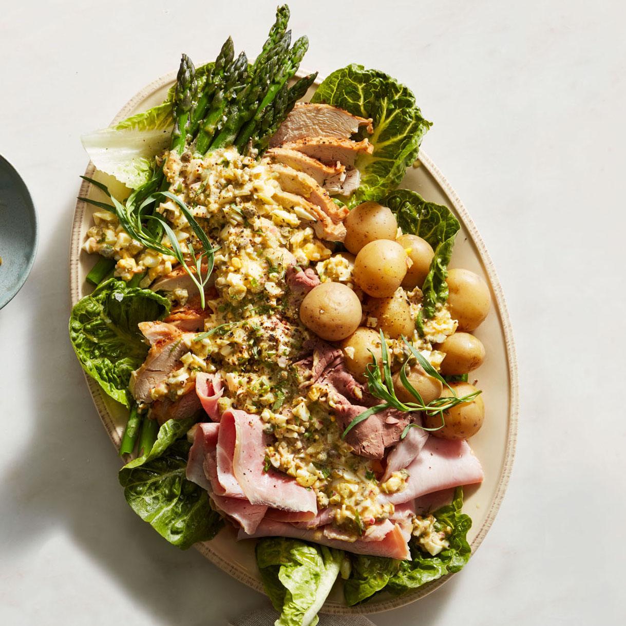 chef salad with gribiche dressin
