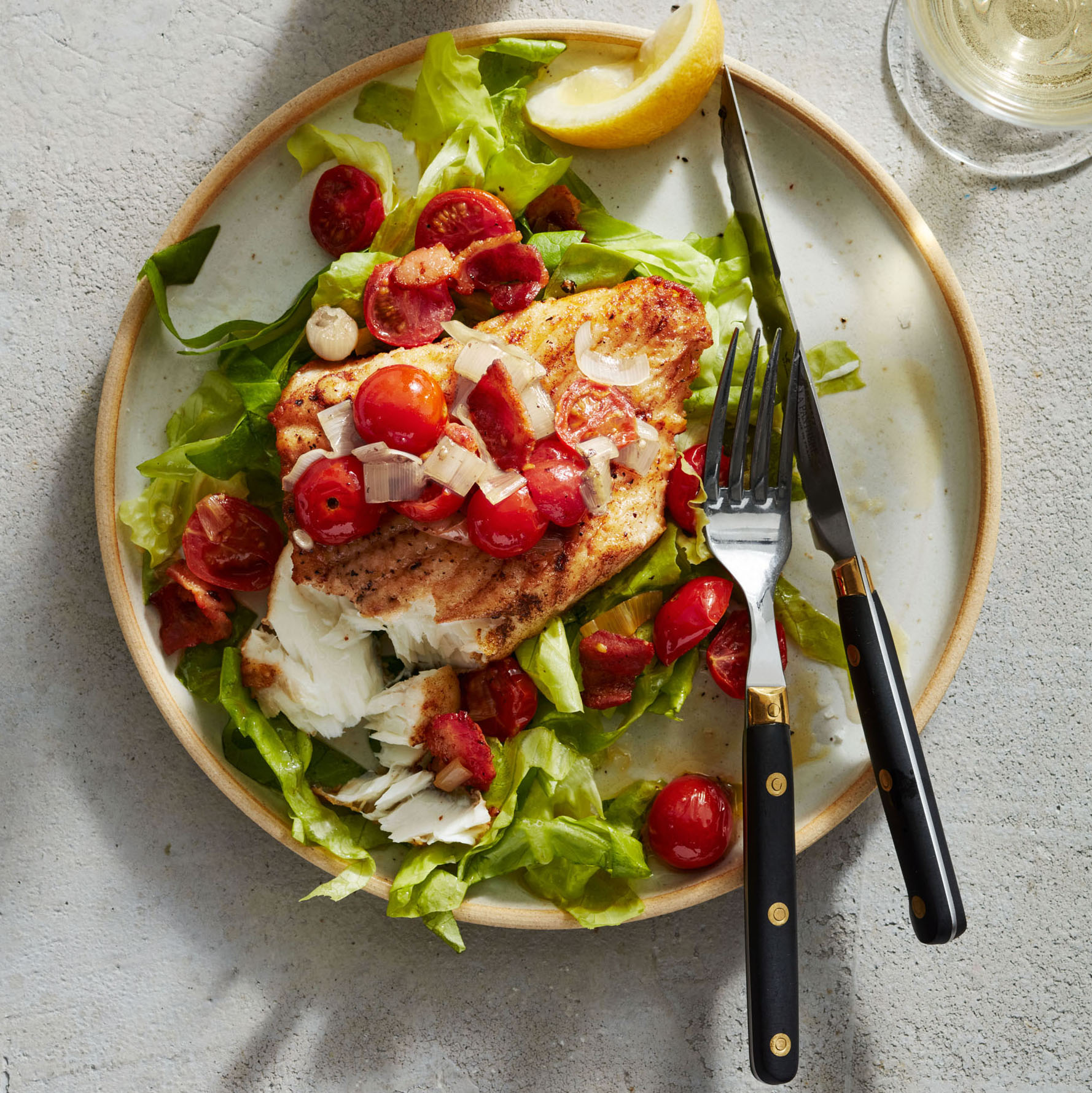 halibut with bacon lettuce and tomatoes