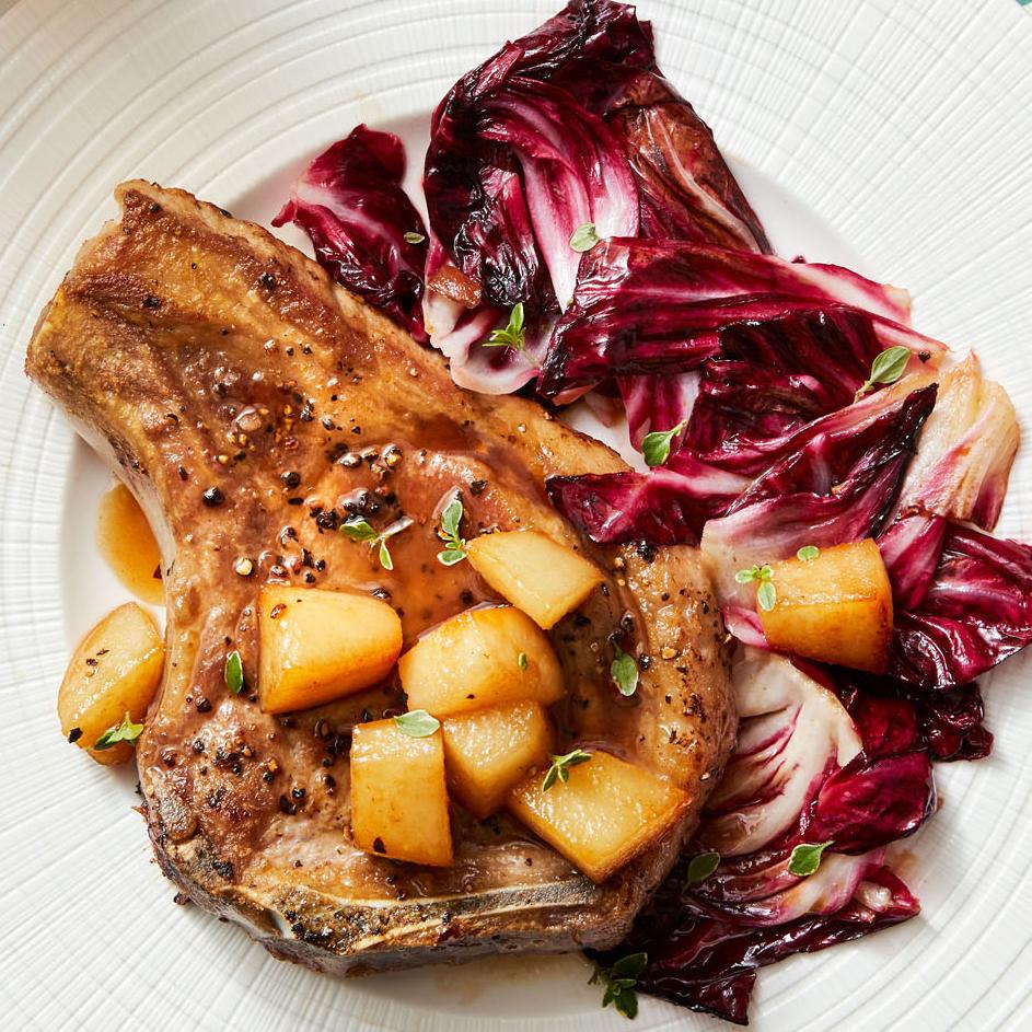 Pork Chops with Radicchio & Pear