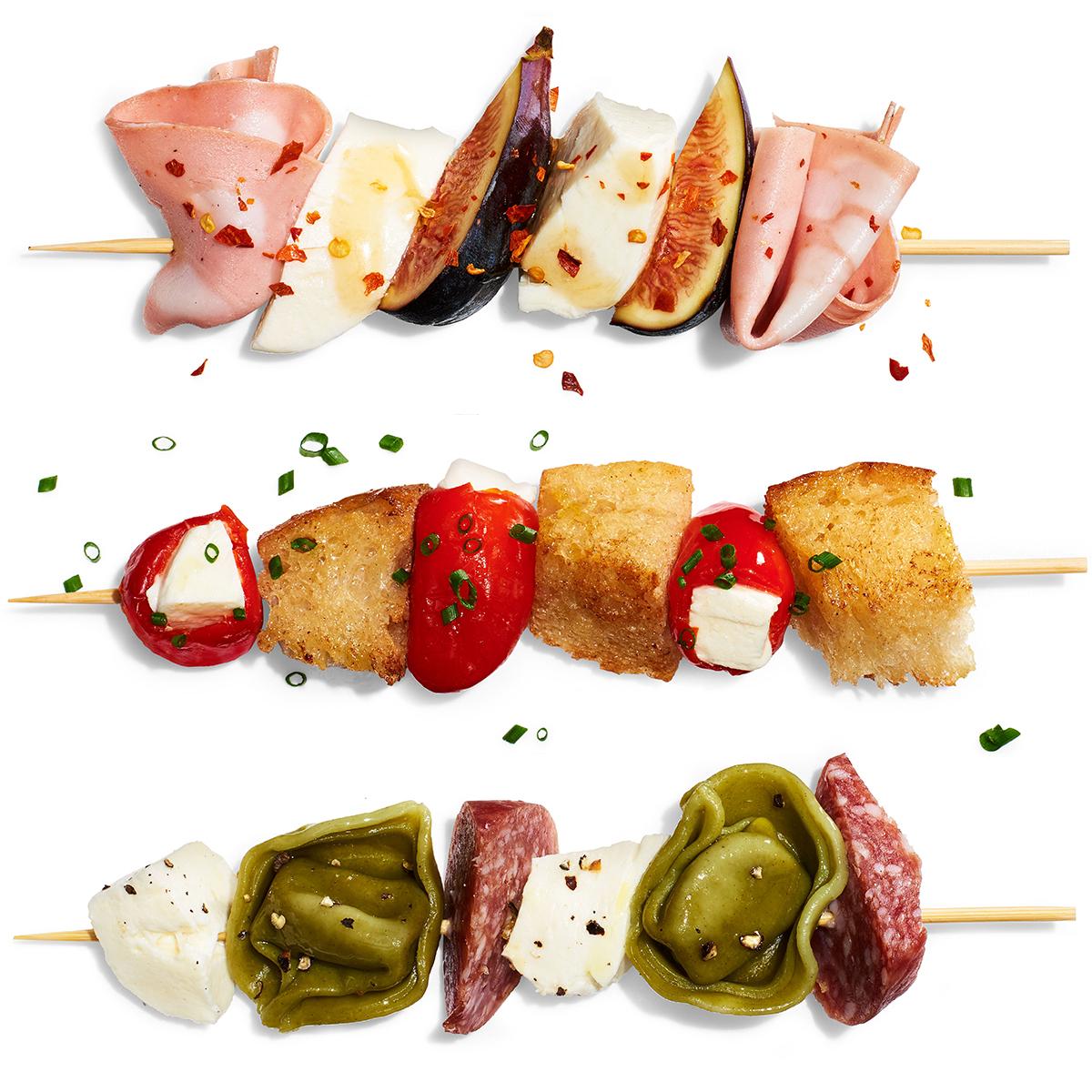 caprese salads on sticks