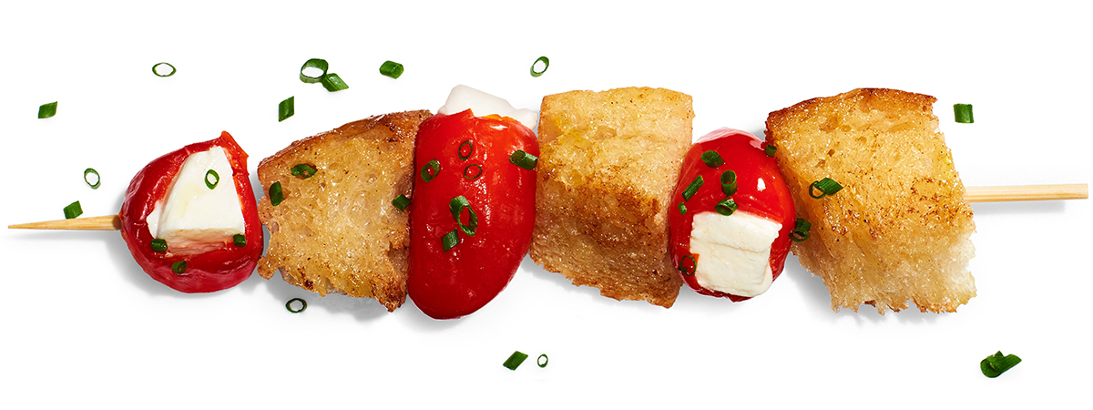 mozz stuffed peppadew peppers toast cubes chives