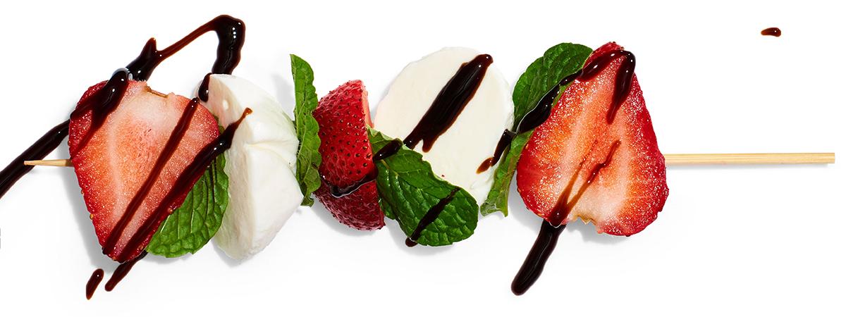 strawberries mint mozz balsamic glaze