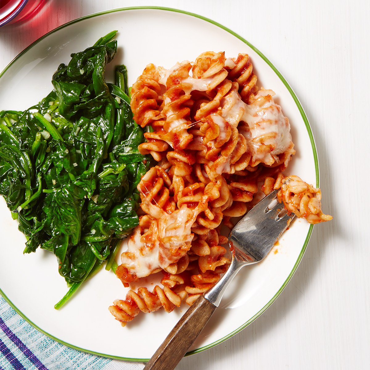 cheesy pasta bake with garlicky spinach