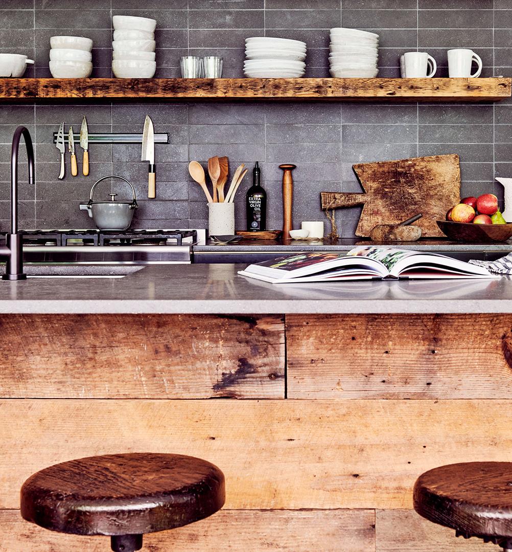 rustic kitchen open shelves