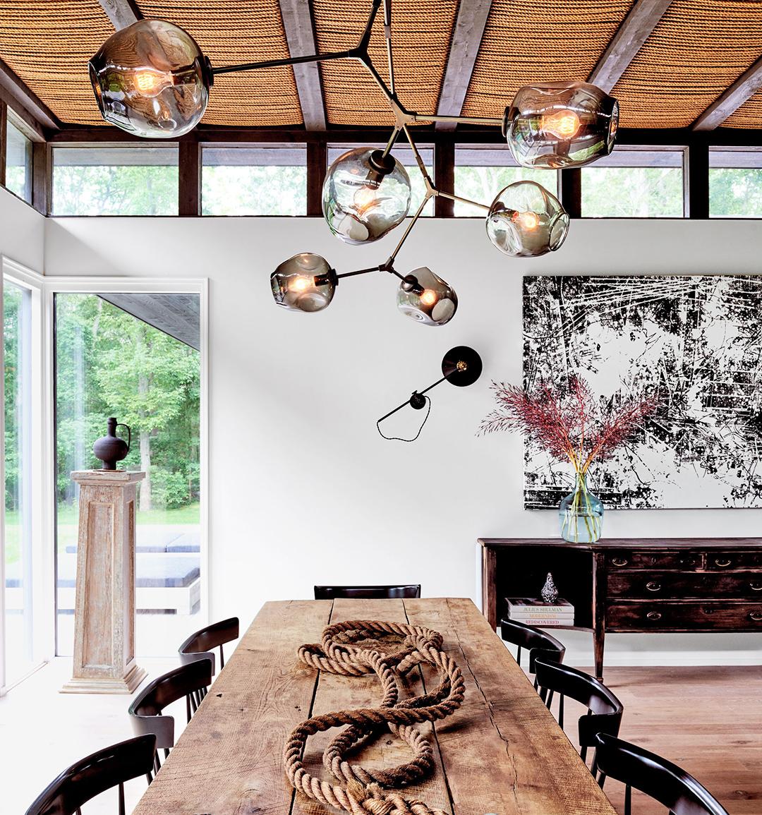 rustic table modern light fixture