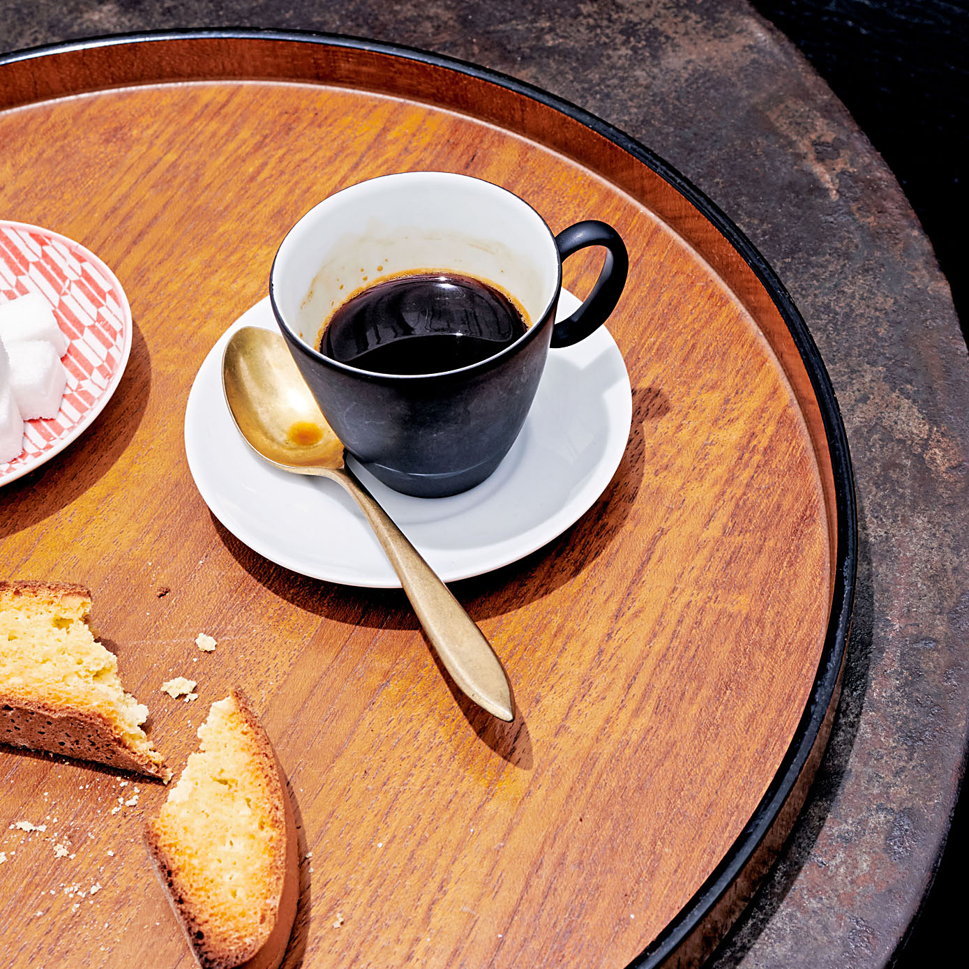 ariel view coffee and saucer on tray table