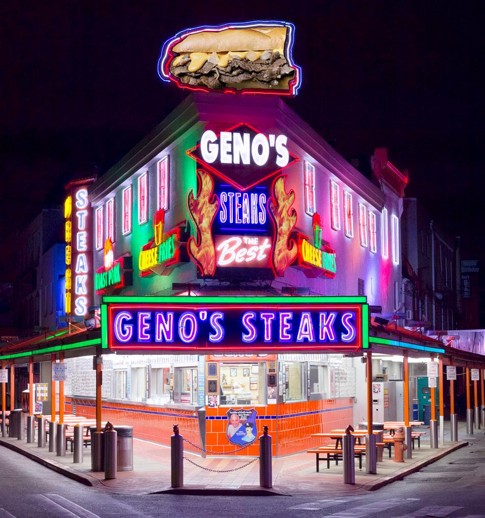 geno's steaks neon storefront philadelphia