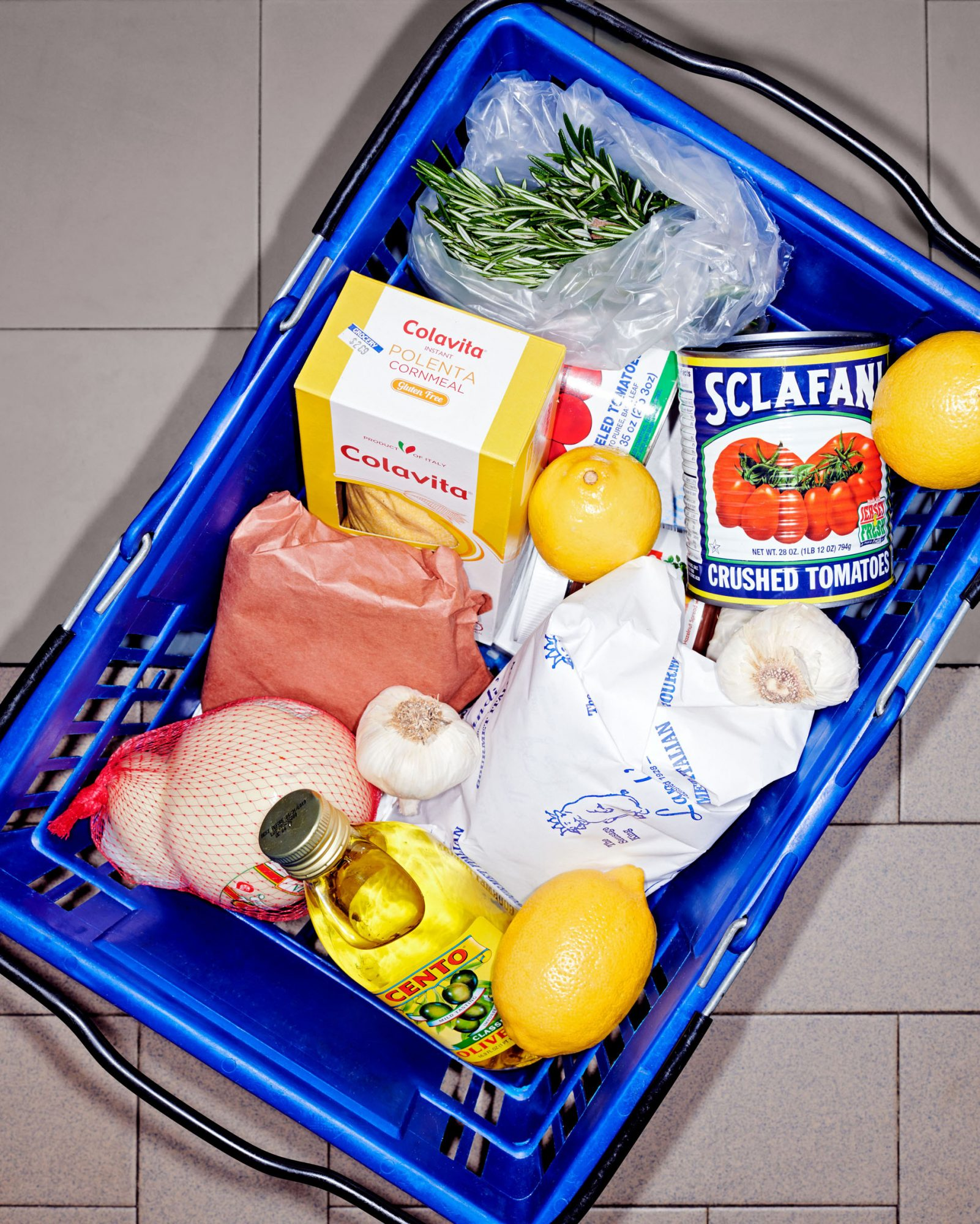 market basket of various ingredients
