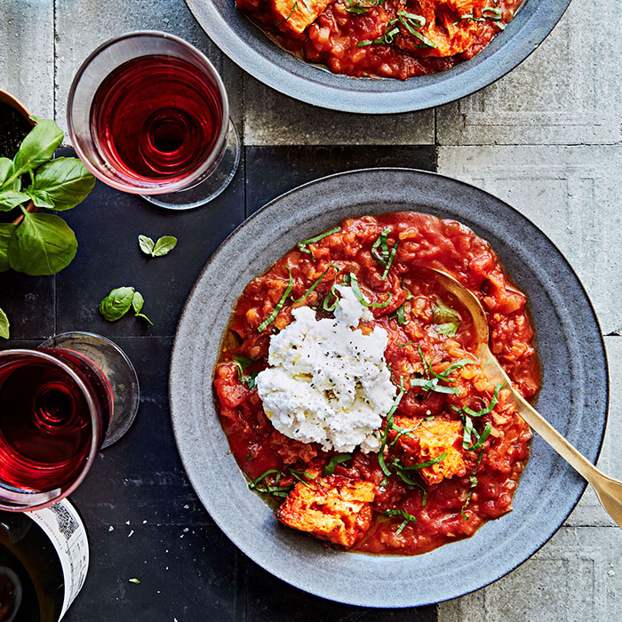 pappa al pomodoro in bowl with red wine