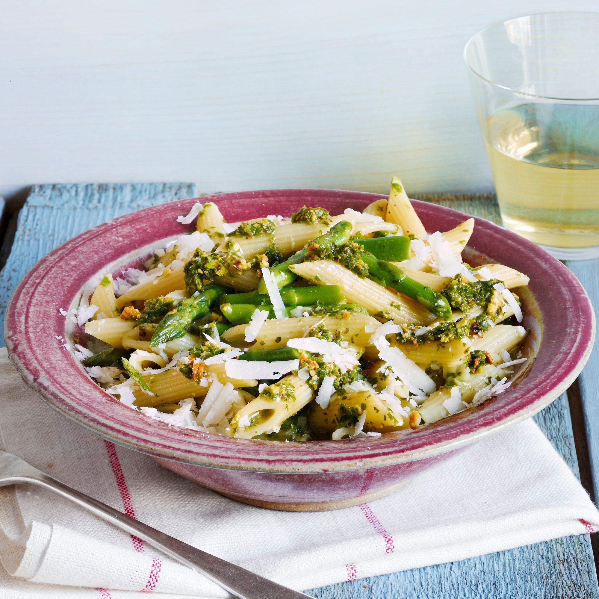 Penne with Asparagus, Mint & Pistachios