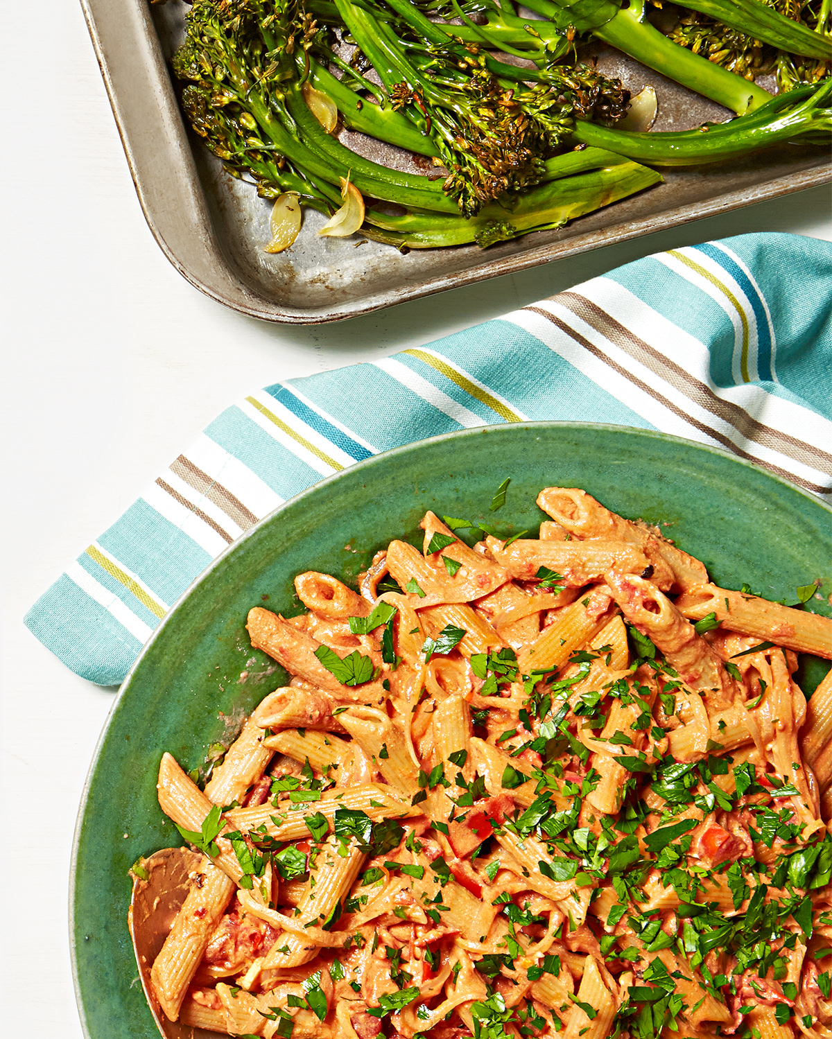 penne with creamy tomato sauce and roasted broccolini