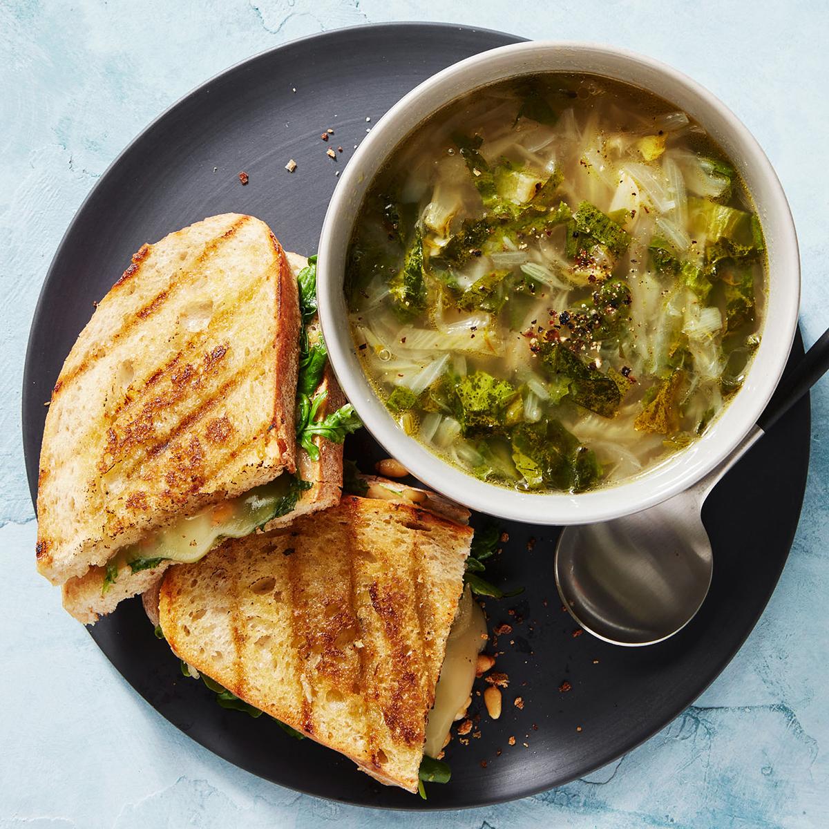 Escarole, Fennel & Onion Soup with Taleggio Panini