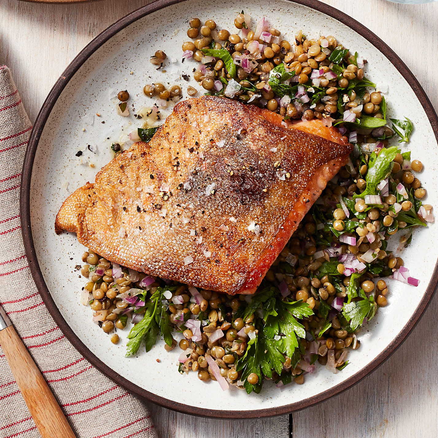 Seared Arctic Char with Lentil Salad