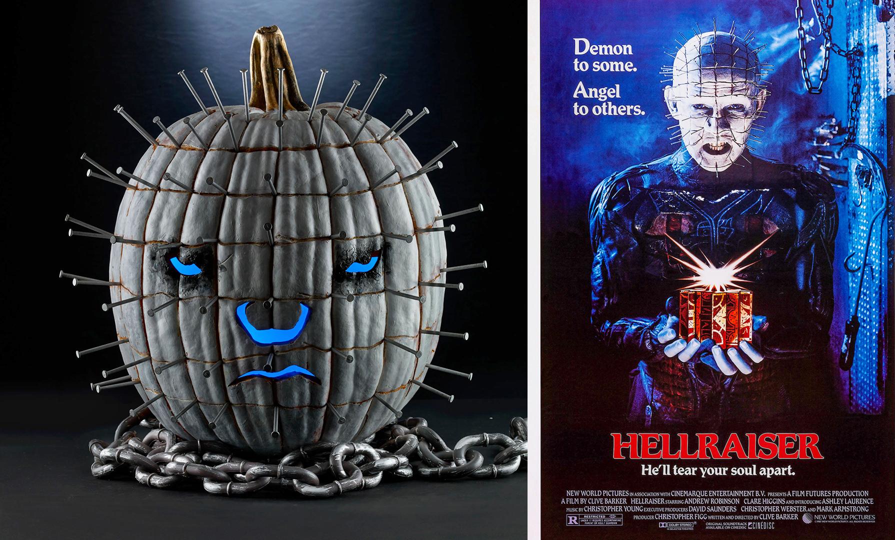 hellraiser pumpkin and poster