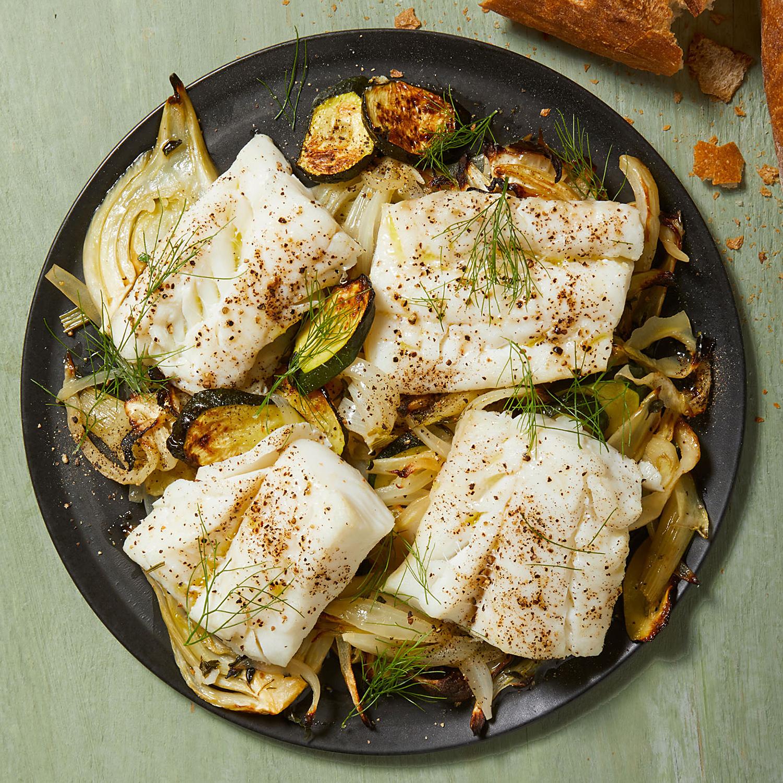 Roasted Cod with Zucchini, Fennel & Onion