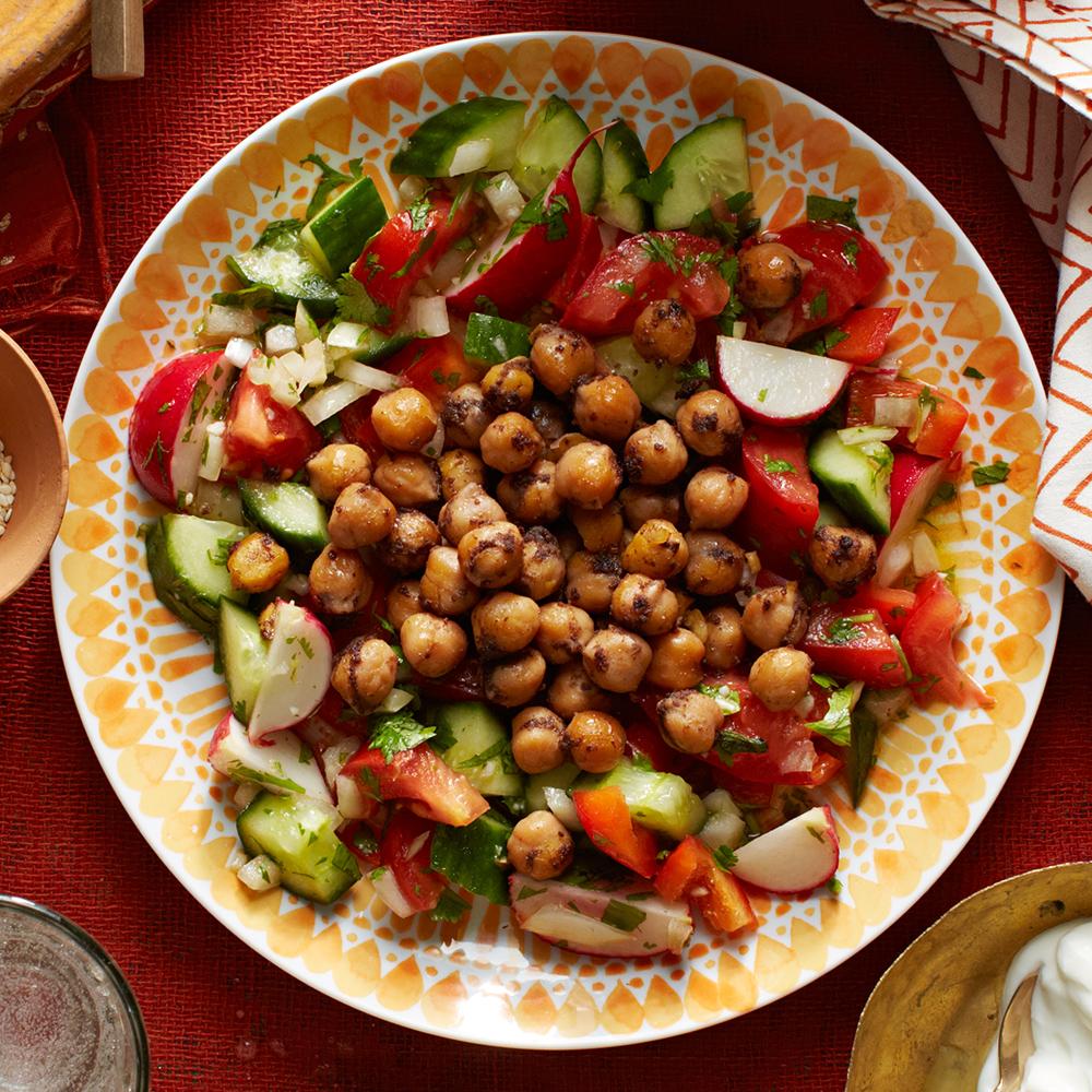 Fried Chickpea & Fresh Vegetable Salad