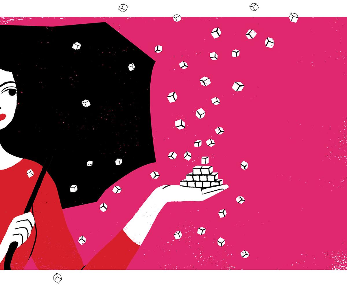 woman tossing sugar cubes illustration