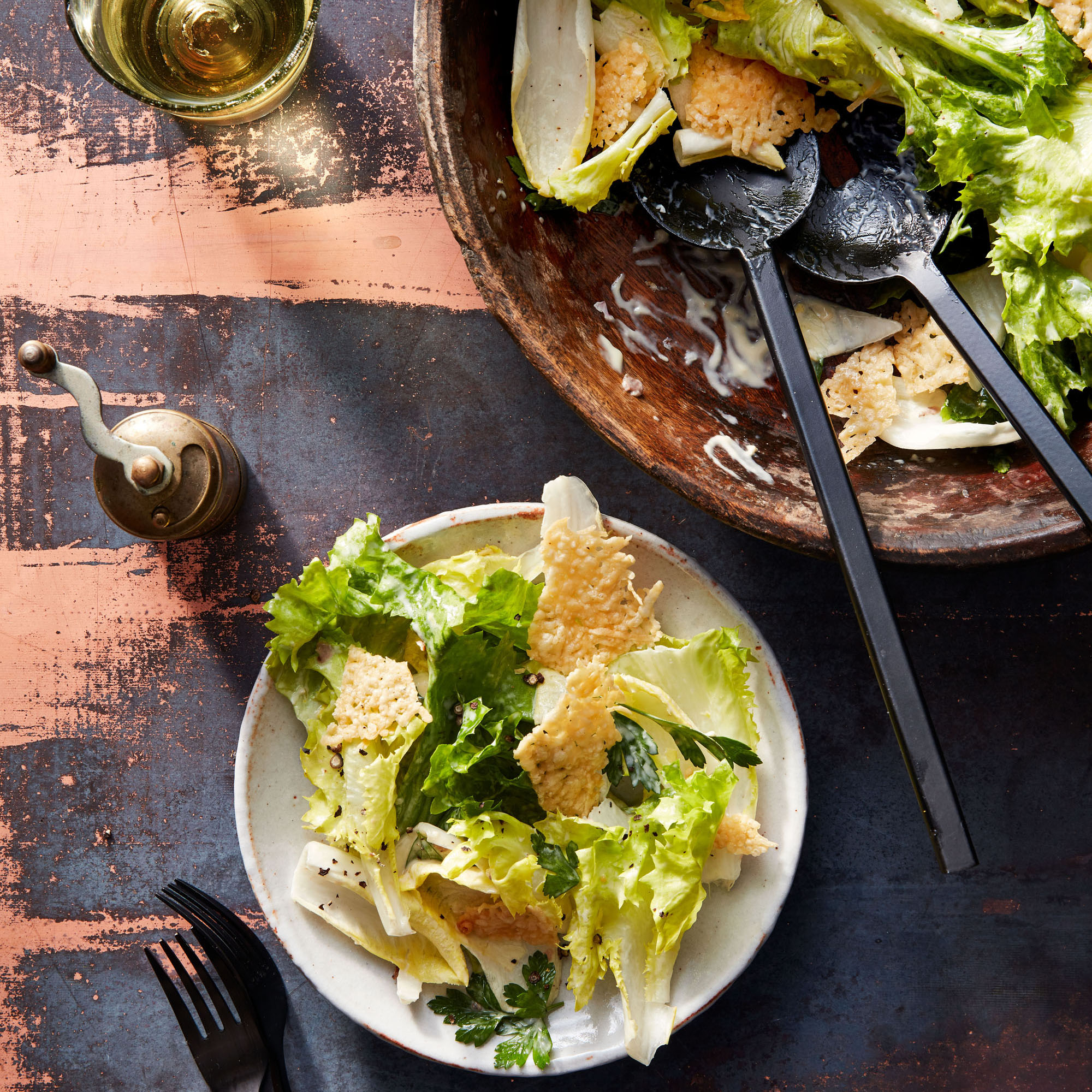 Endive & Escarole Caesar with Frico served in bowl