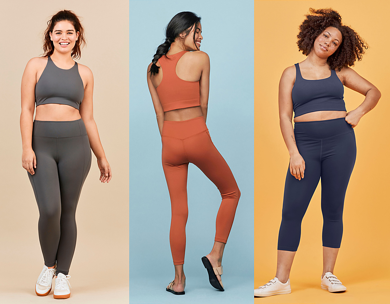 three women wearing Girlfriend Collective workout clothes
